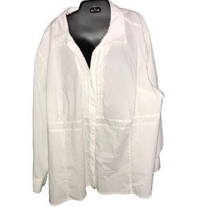 Plus size pintuck button down white shirt 34w 36w